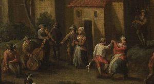 M.Ob.1499; Ferg Franz Paula de (malarz); Krajobraz z bawiącymi się wieśniakami; XVII/XVIII w.; olej; płótno; 34 x 41