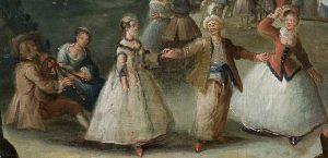 M.Ob.142; Dietrich Christian Wilhelm Ernst (malarz); Zabawa w parku; XVIII w.; olej; deska dębowa; 38x61,5